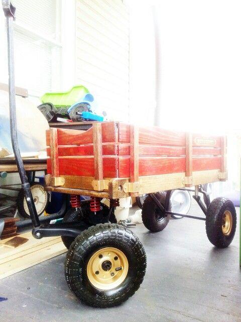 Custom Lifted Radio Flyer Town And Country Wood Wagon Beach Wagons