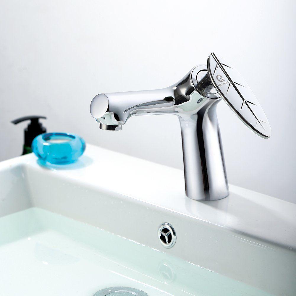 QLINGO Tree Modern Brass Single Handle Bathroom Vanity Sink Faucet - Bathroom tap hose connector for bathroom decor ideas