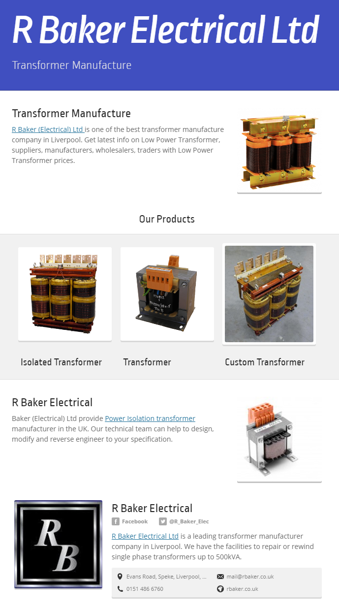 R Baker (Electrical) Ltd is one of the best transformer manufacture ...