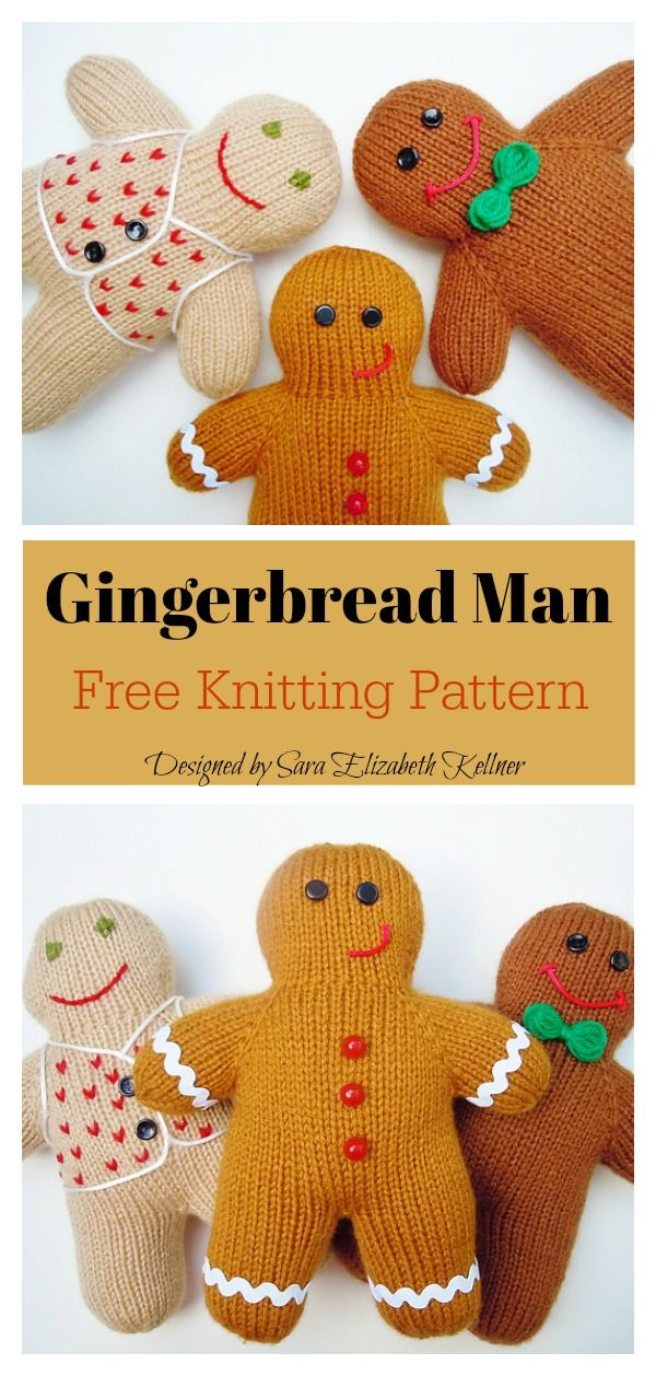 Gingerbread Man Free Knitting Pattern #knittingpatternsfree
