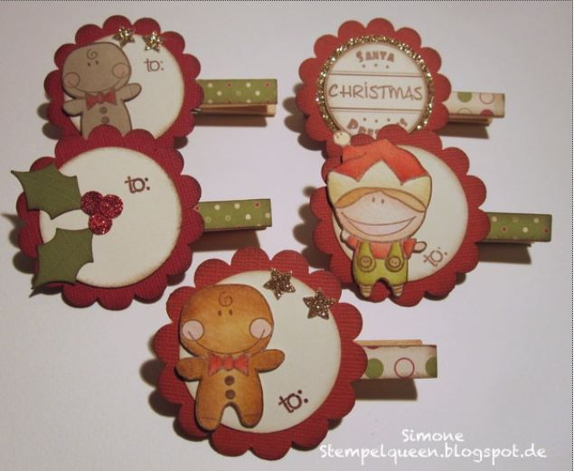 Project: Stamped Holiday Clothes Pin Tags