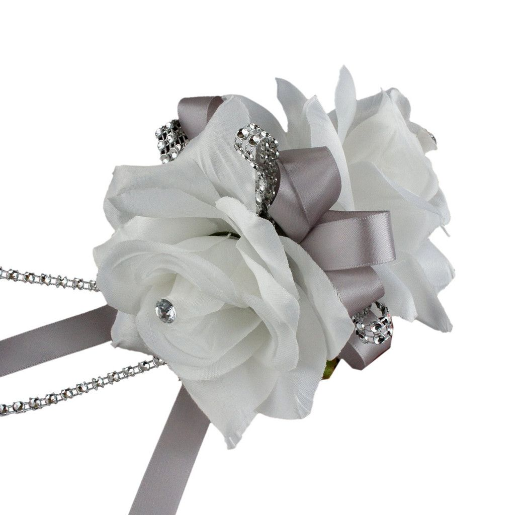 Double Open Rose Wrist Corsages With Pearl Wristband For Wedding And
