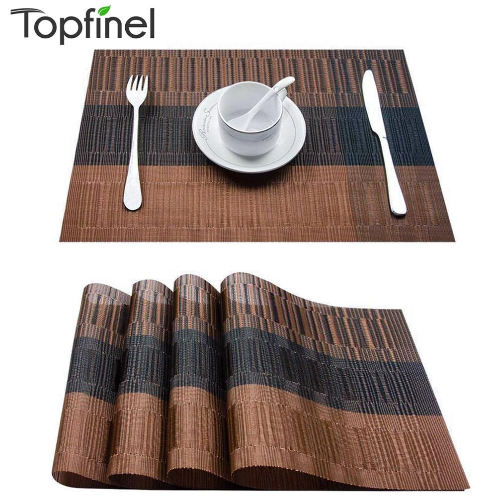 Topfinel Set Of 4 Pvc Bamboo Plastic Placemats For Dining Table