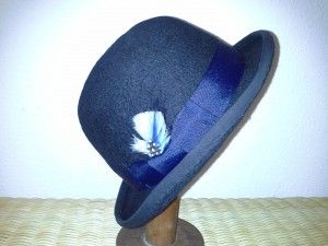 You can always buy a machine stamped, machine sewn hat that feels like cardboard and glue, or you can try something with the warmth of a Grey Falcon.  Classic style bowler with hand laid felt and hand shaped, stiffened to individual desire.  Starting at $120 for wool.