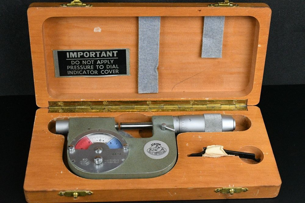 """Vintage USED ETALON DIAL INDICATING MICROMETER 01"""" WITH"""