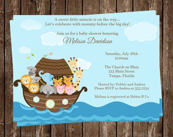 Noah S Ark Baby Shower Invitation Miracle Religious Gender Neutral Twin Lion Two By Eleph