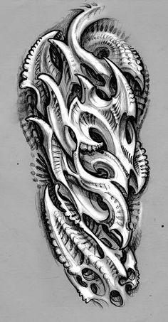 Pin By Richard Smedley On Bio Organic Biomechanical Tattoo Design Bio Organic Tattoo Tribal Tattoos