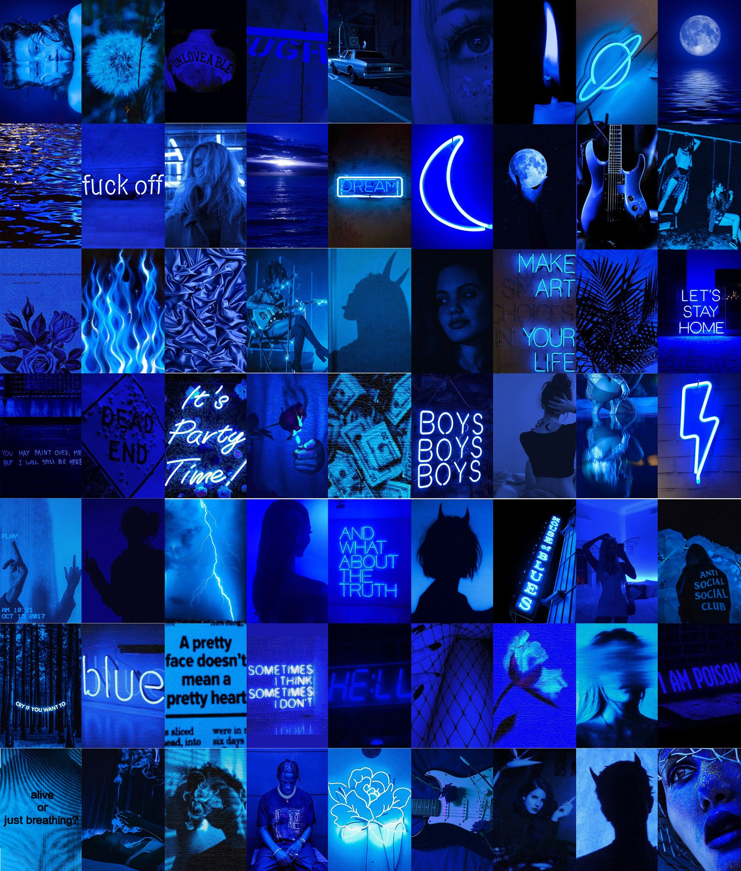 Neon Blue Wall Collage Kit, Blue Digital Wall Art, Grunge Blue Aesthetic Collage - 63Pcs Digital