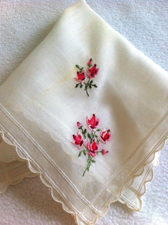 Brides Handkerchief Vintage  Hankie Something Old Rose Bouquet  Motheru0026#39;s Day  Wedding ...