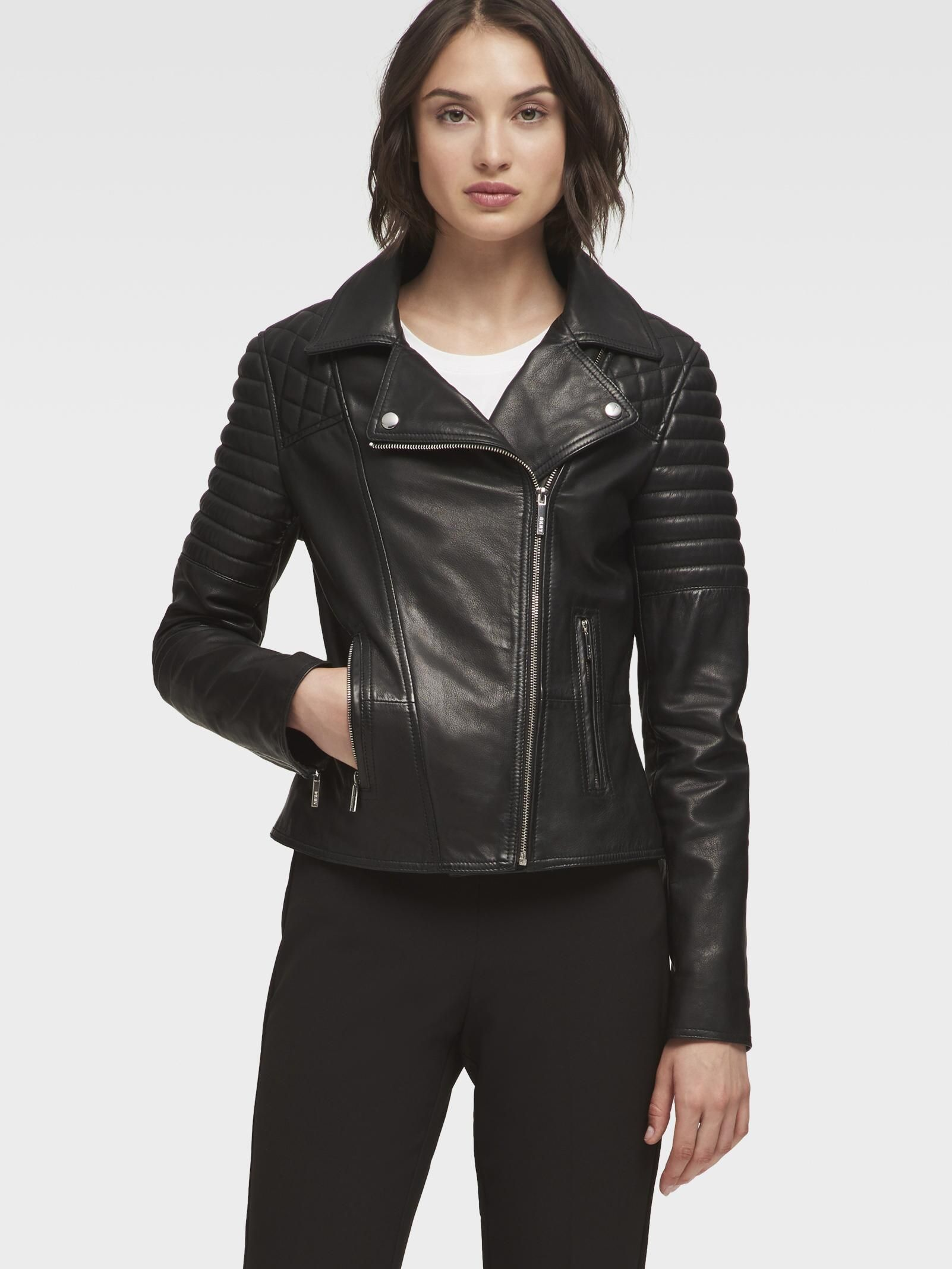 Leather Jacket With Quilted Shoulder Dkny Jackets Outerwear Sale Leather Jacket [ 2136 x 1602 Pixel ]