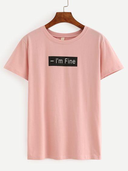 b565372ccd95 Camiseta letra estampada -rosa   propuestas en 2019   Ropa de chicas ...