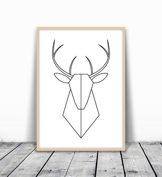 Geometric Deer Art Deer Print Minimalist Deer By Motivatedwallart Geometric Deer Geometric Deer Art Geometric Art