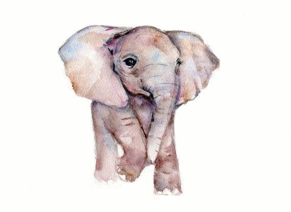 Little Elephant watercolor print  8 x 10 by Marysflowergarden, $12.00
