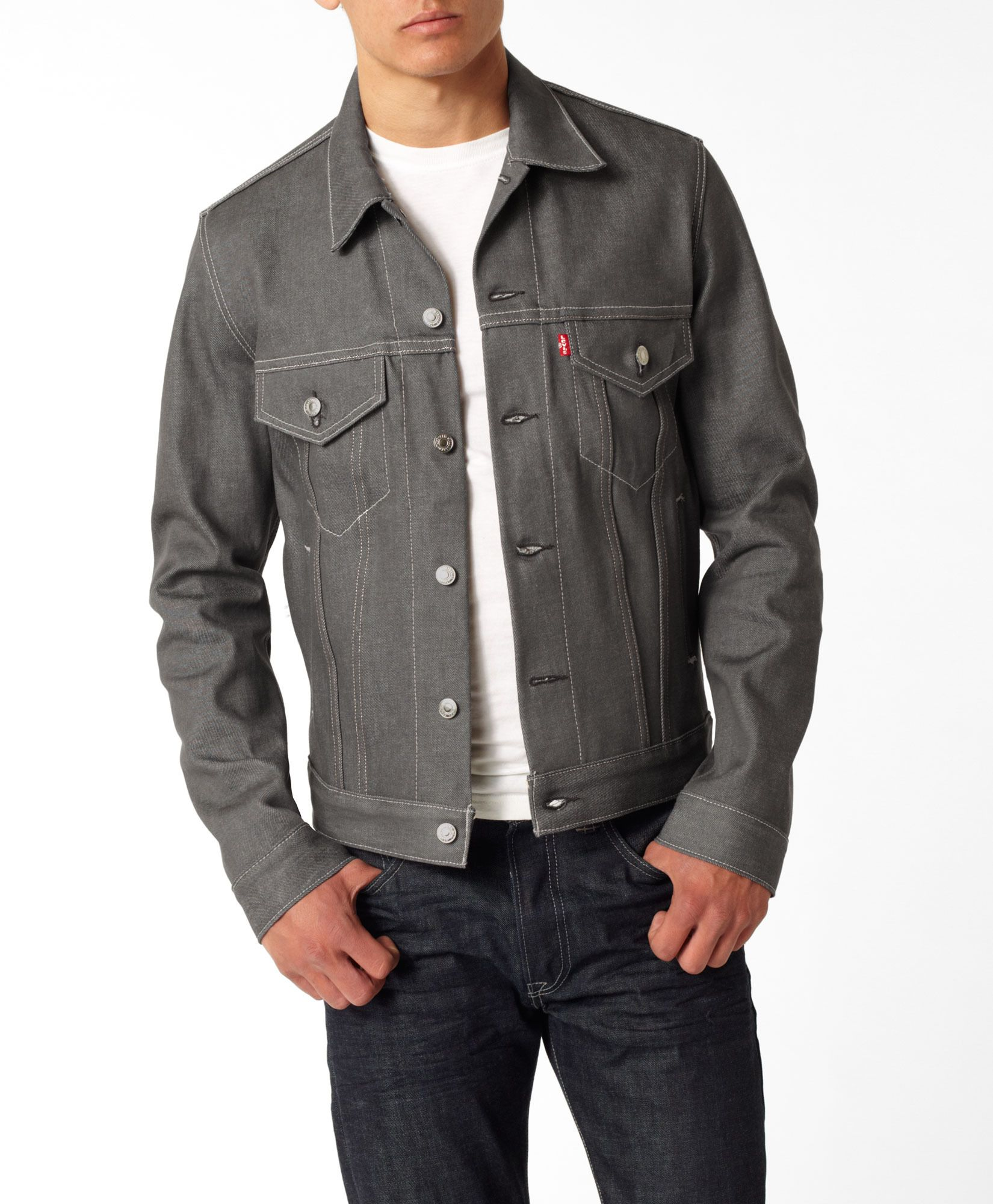 43b5ff67db0 Levi s Trucker Jacket in gray. I love it for men or women. A Levi s classic  since the 1870s