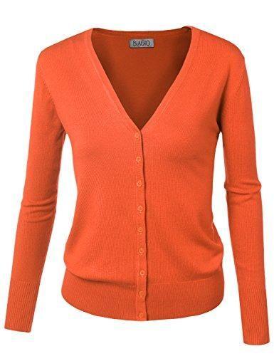 14c2e4d015 BIADANI Women Button Down Long Sleeve Basic Soft Knit Cardigan Sweater