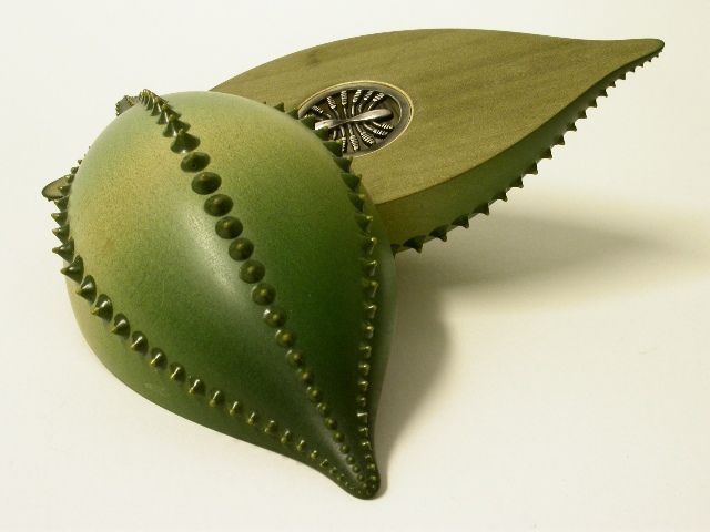 Plankton Art - Louise Hibbert and Sarah Parker-Eaton. Diatom 1. Sycamore, resin & silver.