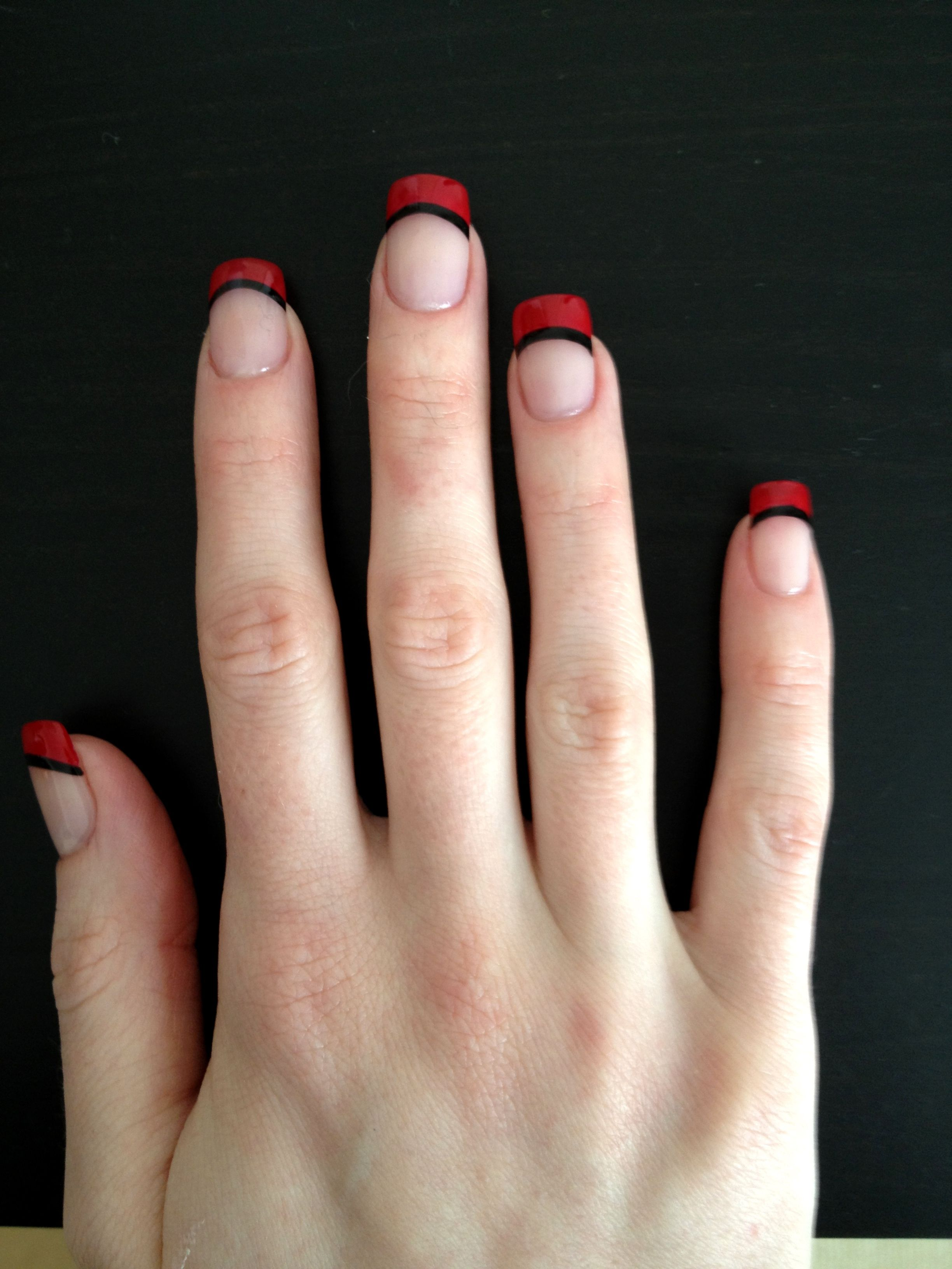 Red and black French nails | Nailspiration | Pinterest | Black ...