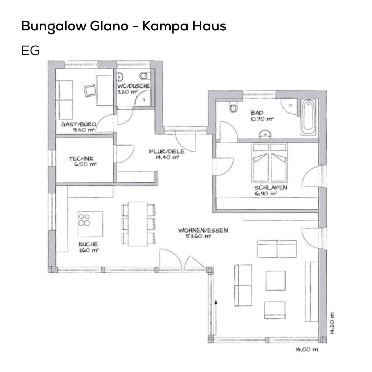 Grundriss Bungalow Haus mit Pultdach & Fachwerk