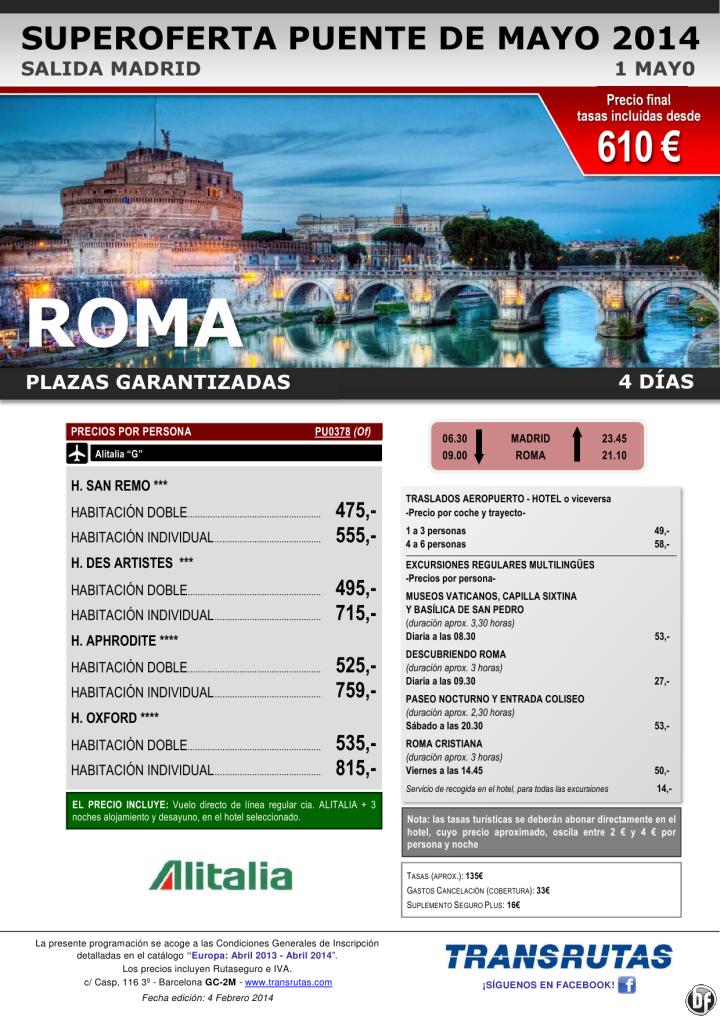 ROMA / 4 días ¡¡Superoferta Puente de Mayo: 1 mayo!! sal. Madrid, precio final desde 610€ ultimo minuto - http://zocotours.com/roma-4-dias-superoferta-puente-de-mayo-1-mayo-sal-madrid-precio-final-desde-610e-ultimo-minuto/