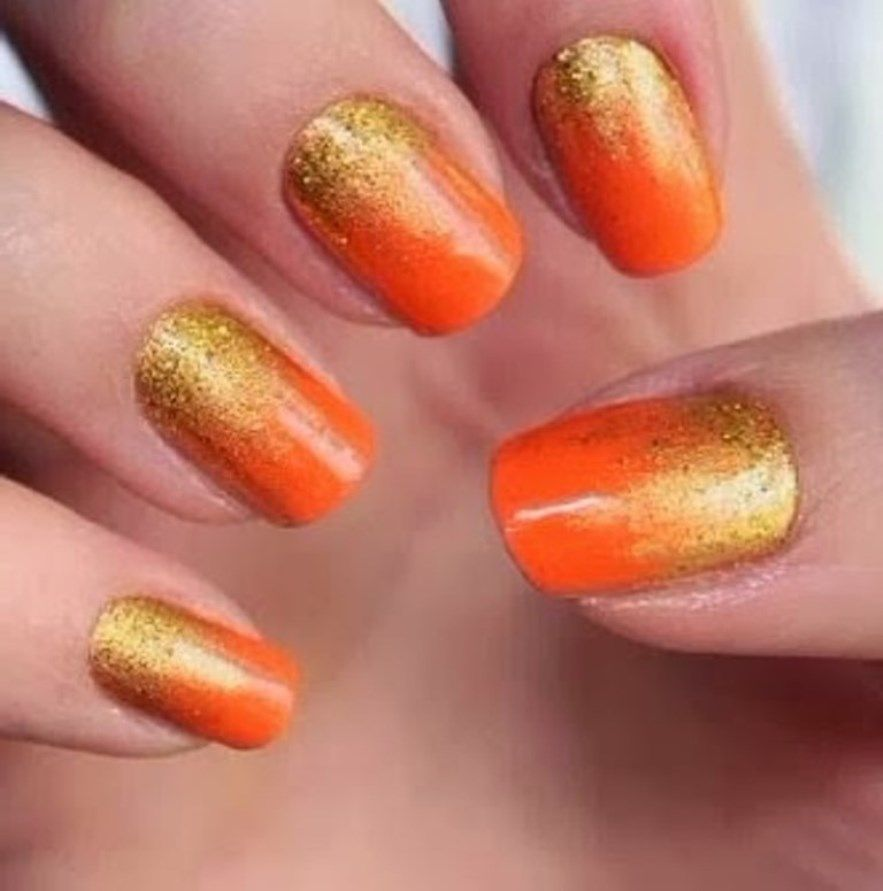 Orange and Gold Nails | Red Nails | Pinterest | Gold nail, Orange ...