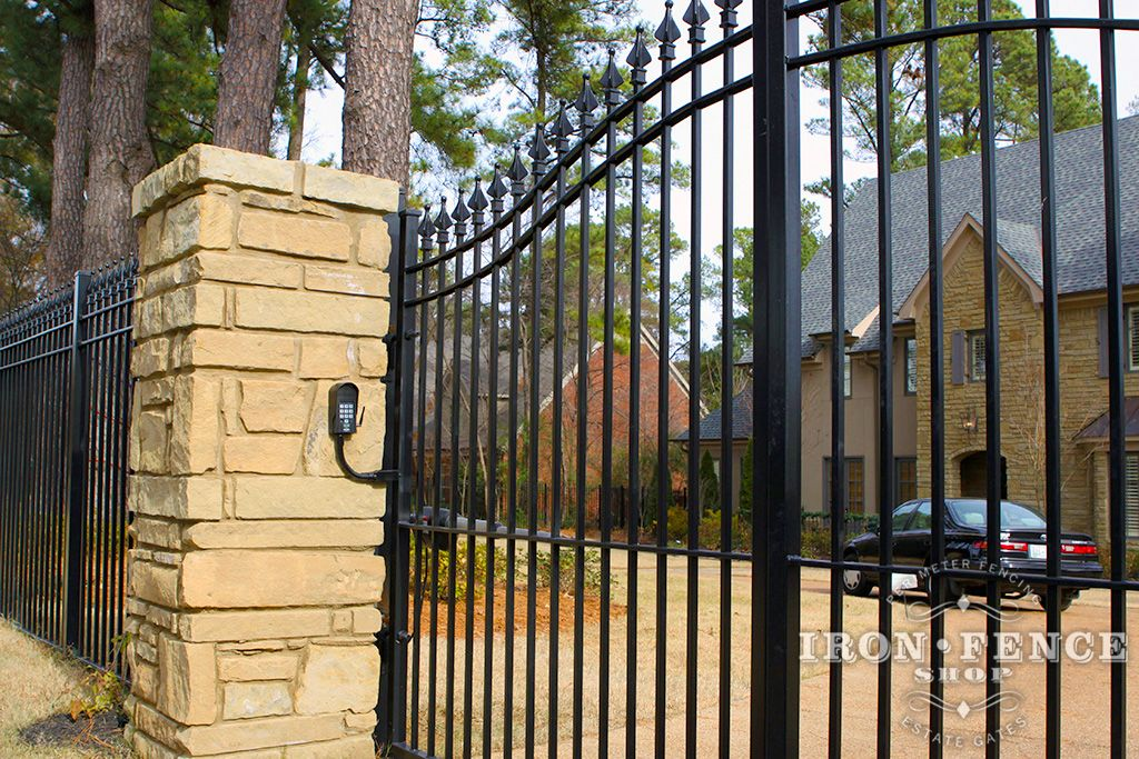 Mounting An Iron Or Aluminum Driveway Gate To A Stone Or Brick Column Can Be Done But Hiding The Posts Beh Aluminum Driveway Gates Driveway Gate Brick Columns