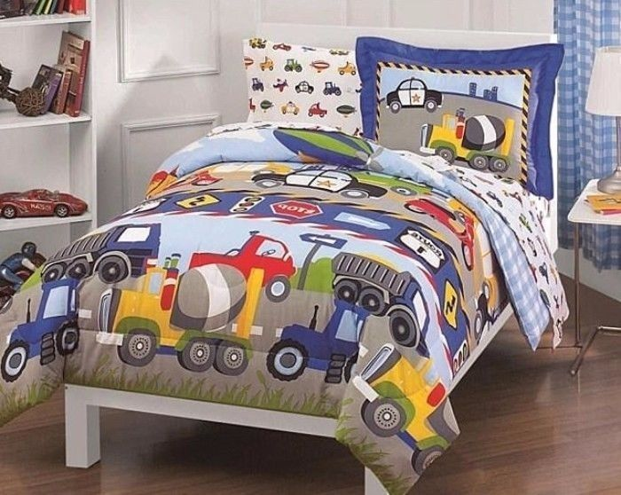 Trucks And Tractors Twin Size Five Piece Bed In A Bag With Sheet