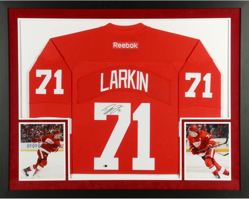 Dylan Larkin Detroit Red Wings Framed Signed White Reebok Premier Jersey 6263bdd05