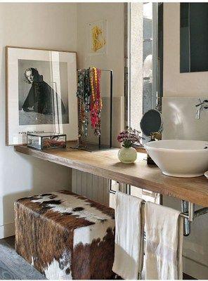 mensola top in legno per lavabo d'appoggio 150x40x5 | idee per la ... - Lavabo Per Top