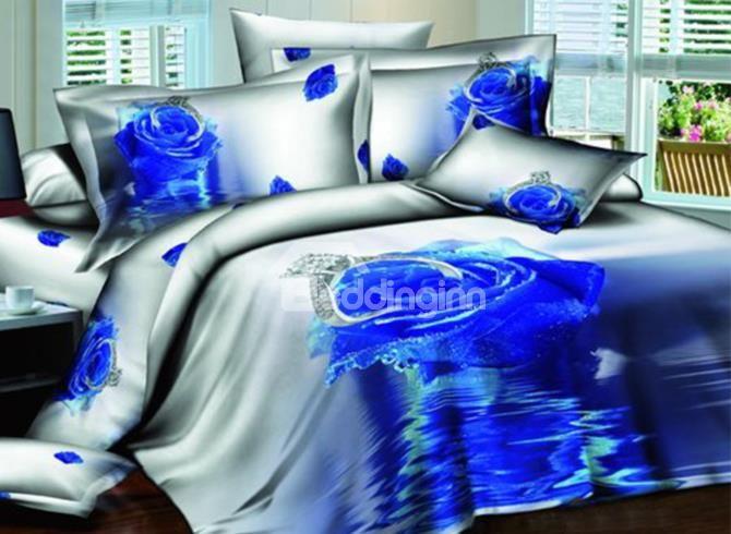 Blue Rose And Diamond Ring Print 3d Duvet Cover Sets Bedding