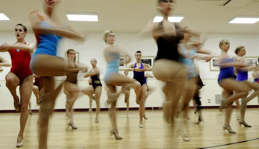 Dancers audition for the rockettes broadway tap jazz