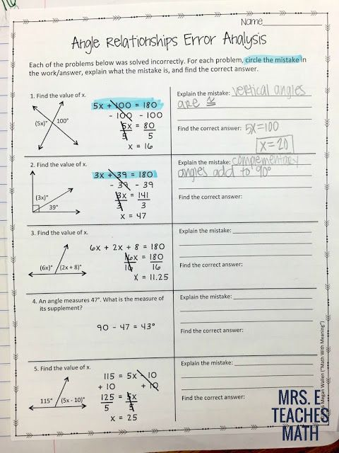 Angle Relationships Worksheet 2 Answer Key : angle, relationships, worksheet, answer, Angles, Relationships, Pages, Error, Analysis, Math,, Teaching, Geometry,, Relationship, Worksheets