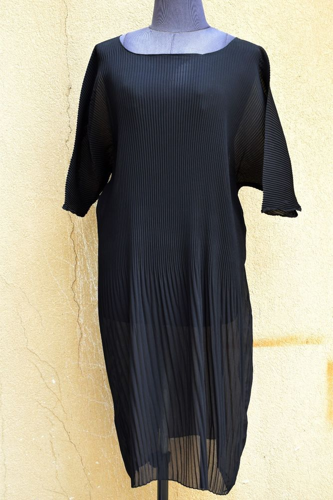 KEDEM SASSON Designer Semi-Sheer Black Short-Sleeve Tunic Top / Dress @ One Size #KEDEMSASSON