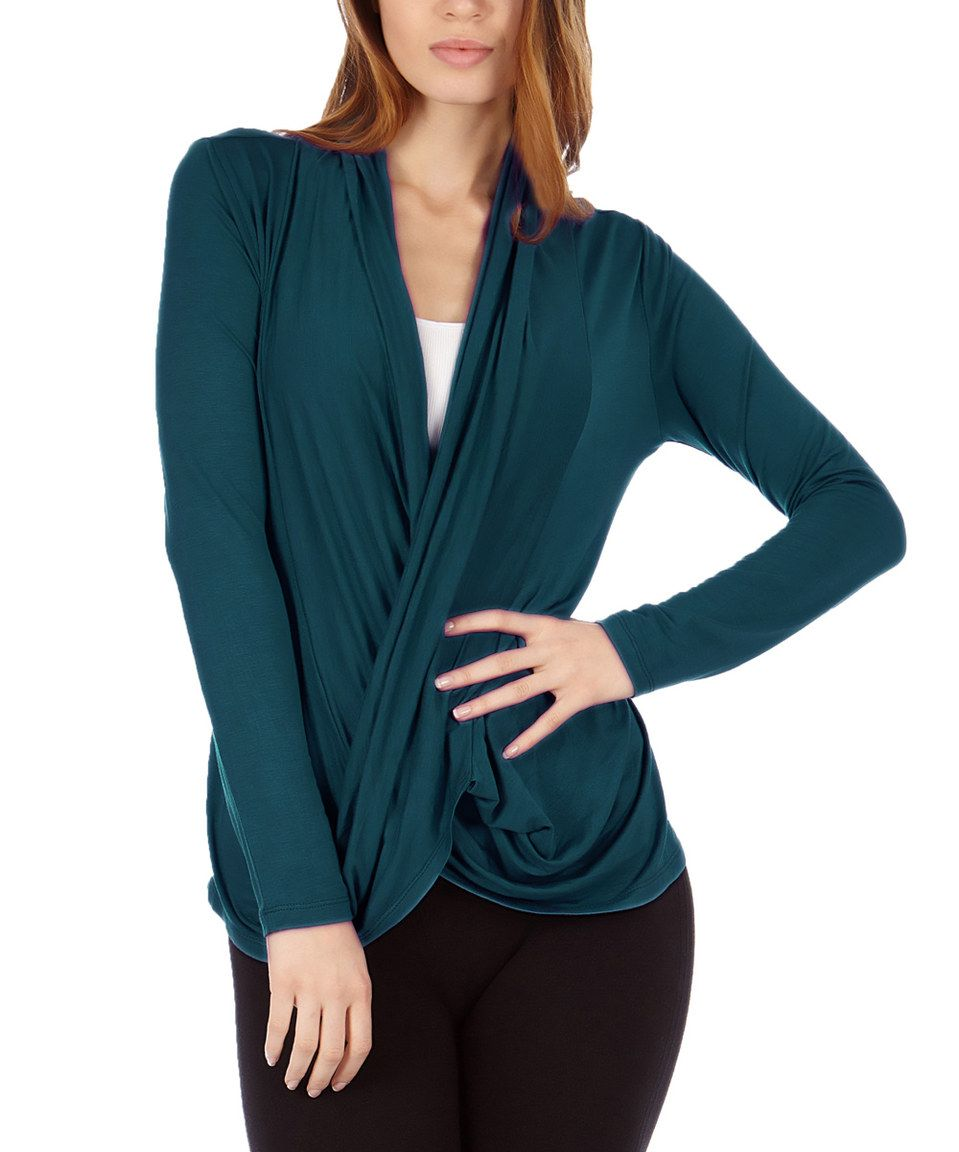 Look at this #zulilyfind! Dinamit Jeans Dark Jade Crisscross Drape Top by Dinamit Jeans #zulilyfinds
