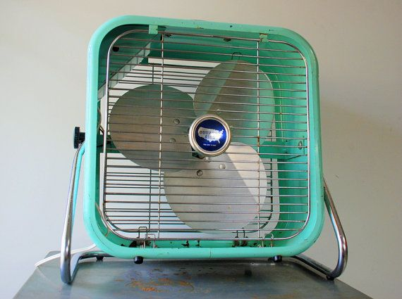 1950's Aqua Country Aire Metal Box Fan with 2 Speeds and Tilting Feature. $100.00, via Etsy.