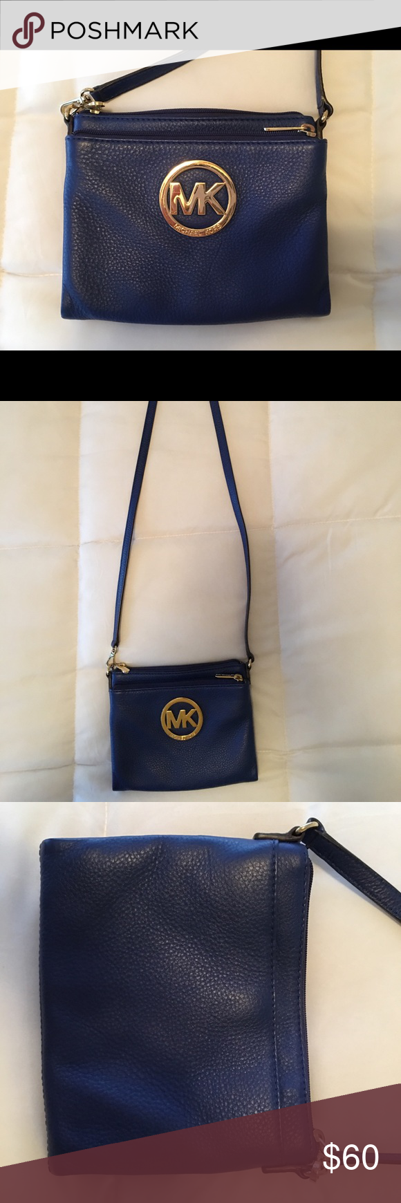 ebc42fa39b6a AUTHENTIC Michael Kors crossbody bag (navy gold) Super cute navy MK  crossbody bag