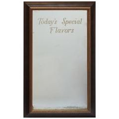 "1900s Ice Cream Parlor Etched Mirror ""Today's Special Flavors"""
