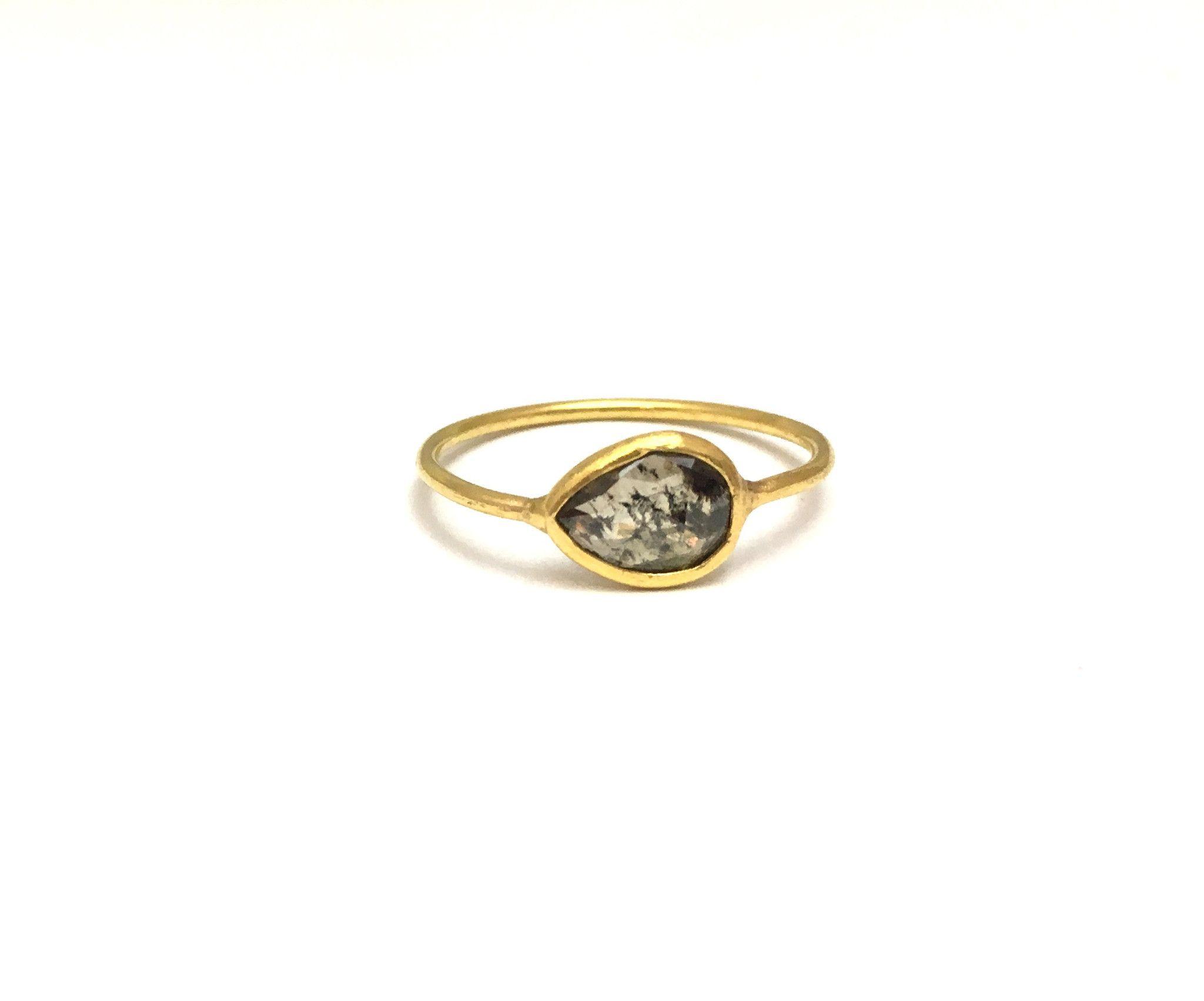 18K Rosecut Pear Shaped Rough Diamond Slice Ring