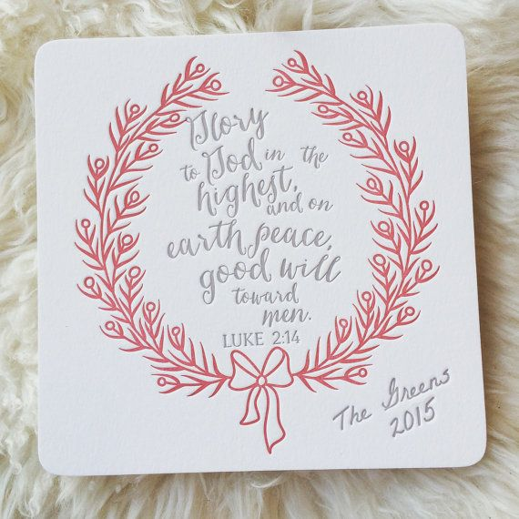 letterpress christmas card with scripture by studio3eleven on etsy - Christmas Card Scripture
