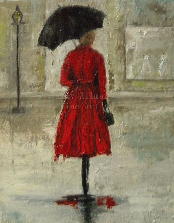Oil Painting Fine Art A Walk in the Rain Urban by KenziesCottage, $125.00
