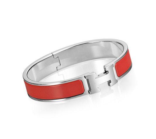 52dfeba04a Clic H Bracelet fin en émail rouge corail, plaqué argent et palladium  (diamètre : 6 cm)