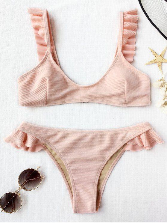 ca647cd19bd7 $16.03 Ribbed Texture Ruffles Bikini Set - SHALLOW PINK M | ZAFUL ...