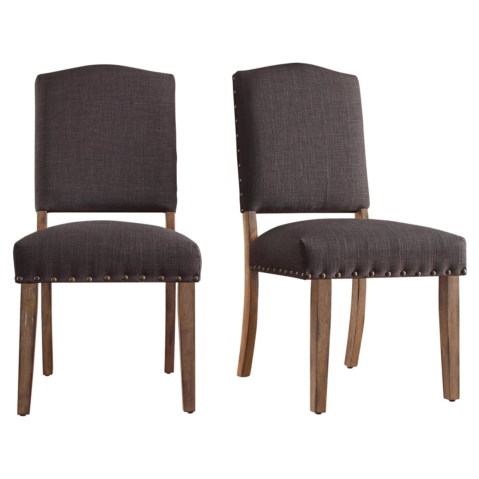 Admirable Weston Home Nailhead Dining Side Chair Set Of 2 Gray In Bralicious Painted Fabric Chair Ideas Braliciousco