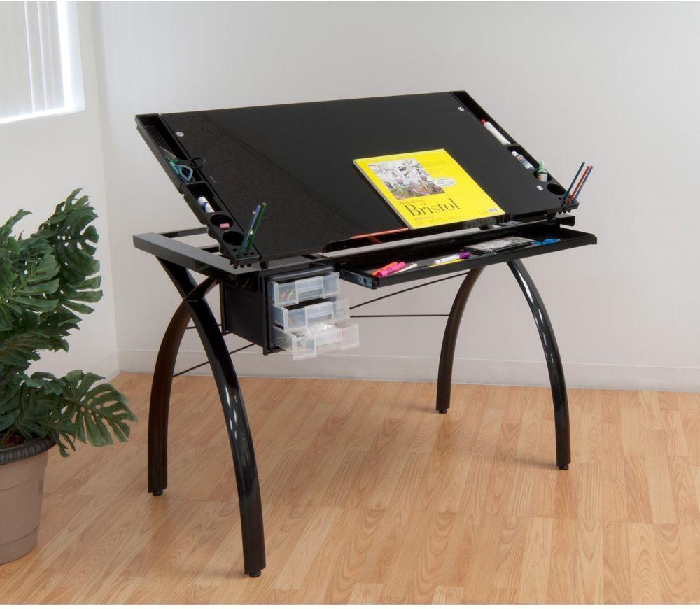 Drafting Table Black Craft Station Metal Heavy Duty Steel Sliding Drawer  Storage