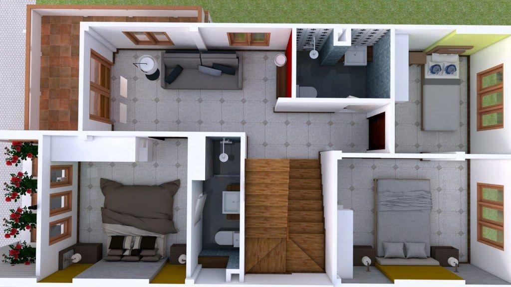 Interior Design Plan 7x15m Walk Through With Full Plan 4beds Samphoas Plan Interior Design Plan Home Building Design Duplex House Design