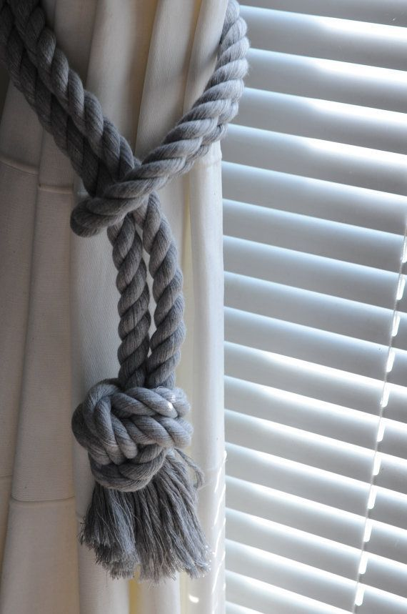 Photo of Nautical Decor Cotton Rope Curtain Tie Backs Gray by OYKNOT – #Backs #Cotton #Cu…