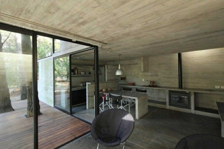 Hormigon como elemento decorativo de interiores - paredes de cemento