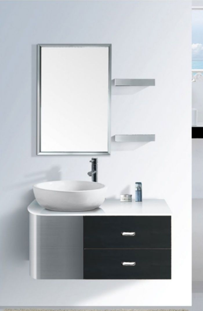Roz stainless steel basin cabinet rt 037 wall hung for Bathroom cabinets singapore