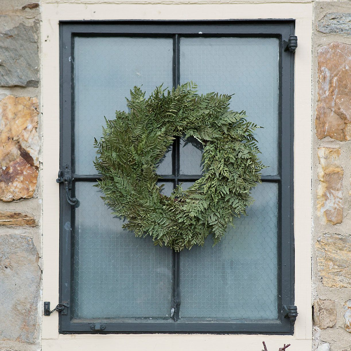 Window decor with wreath  preserved parchment fern wreath  fern and wreaths