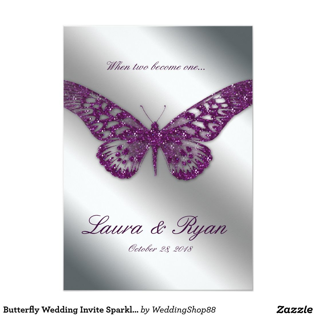 Wedding decorations silver october 2018 Butterfly Wedding Invite Sparkle Purple Silver  Butterfly wedding