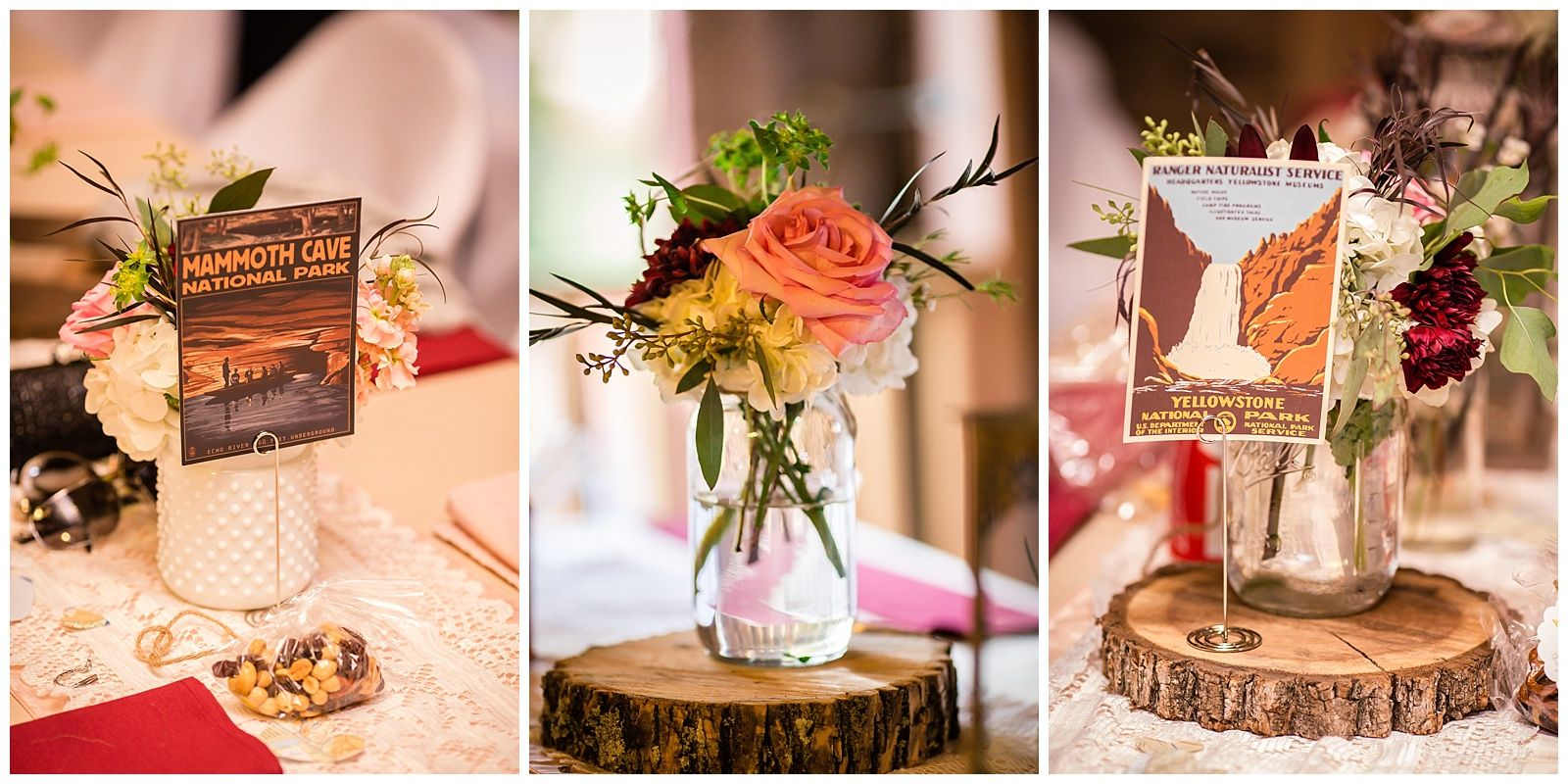 National Parkthemed centerpieces from a rustic wedding at